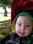 My cheeky cherub on an early morning summer's walk